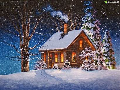 Cabin Christmas Winter Scenery Snow Scenes Painting