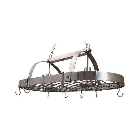 designs 2 light brushed nickel kitchen pot rack
