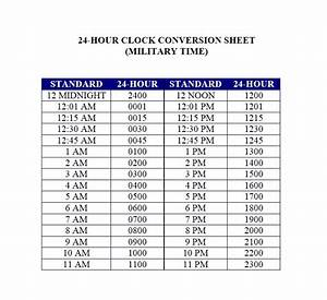 24 hour clock time conversion table brokeasshomecom With 24 hour time chart template