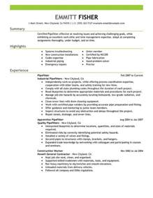 sle resume for welder fitter unforgettable pipefitter resume exles to stand out
