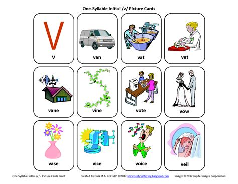 three letter words with v testy yet trying initial v free speech therapy 25283 | Inital%2BV%2BSpeech%2BTherapy%2BArticulation%2BCards%2BFront