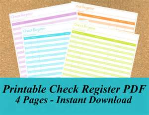 Printable Full Page Check Register for Checkbook