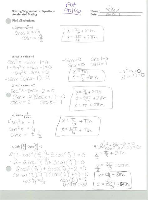 proving trigonometric identities worksheet worksheets for