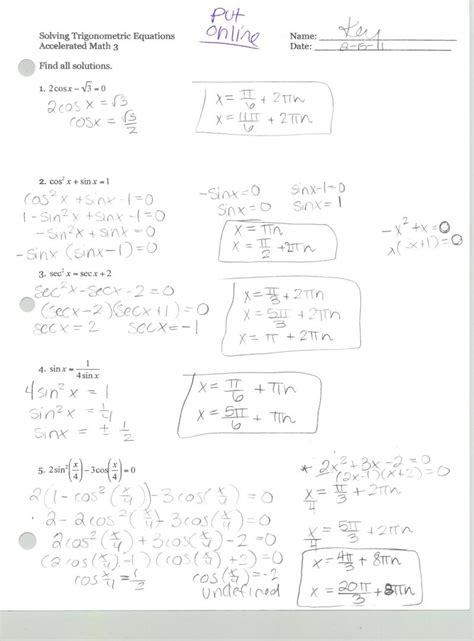 Proving Trigonometric Identities Worksheet Worksheets For All  Download And Share Worksheets