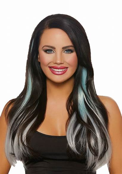 Ombre Hair Extensions Grey Straight Aqua Piece