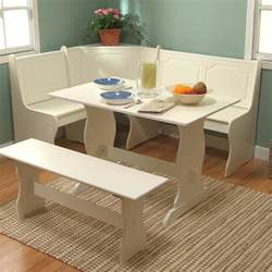 white corner dining set breakfast nook bench table kitchen dinette storage lunch
