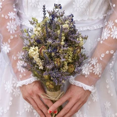 provence dried flower wedding bouquet   artisan dried