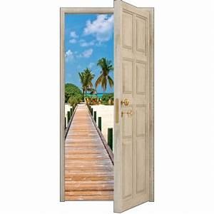 Deco Porte Interieure En Trompe L Oeil : sticker porte trompe l 39 oeil les maldives 88x200cm ref 850 stickers muraux deco ~ Carolinahurricanesstore.com Idées de Décoration