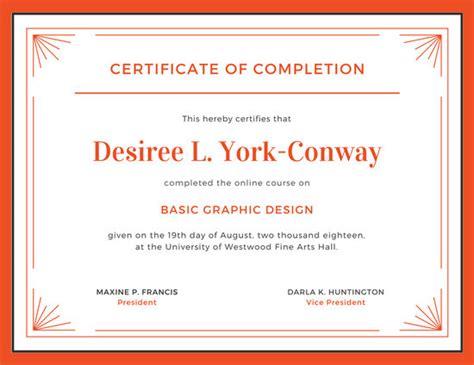 orange  white completion certificate templates  canva