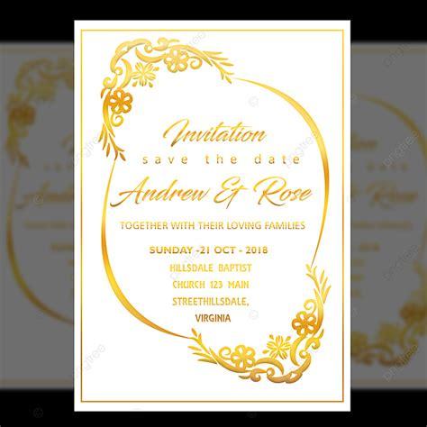white wedding invitation card design template  gold