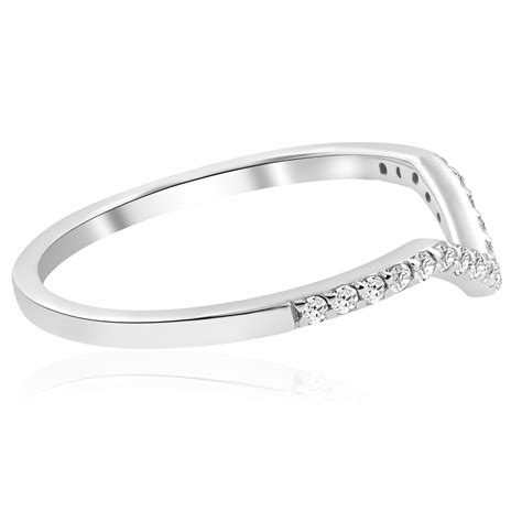 1 4ct diamond curved v shape wedding ring womens stackable