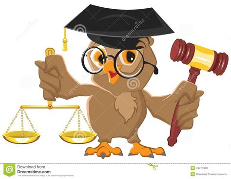 Owl Judge Holding Gavel And Scales Stock Vector