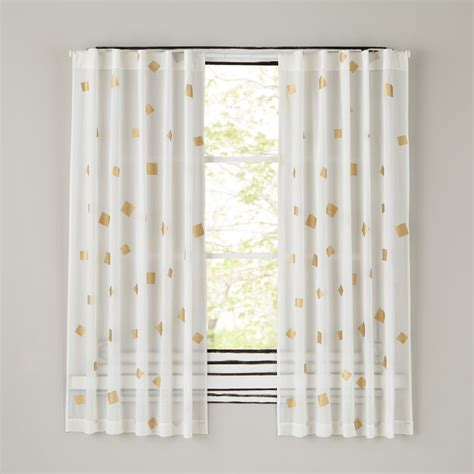 gold and white sheer curtains gold confetti curtain panels the land of nod