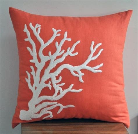 coral color decorative pillows coral colored coral throw pillow to accent my blue fish