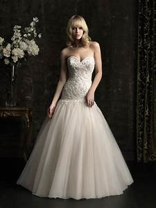 ball gown sweetheart dropped waist champagne tulle With tulle drop waist wedding dress