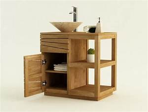 achat vente meuble de salle de bain teck trevise meuble With meuble salle de bain teck 100 cm