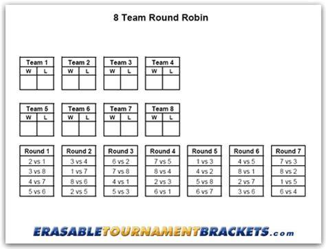 8 Team Round Robin Tournament Bracket ...