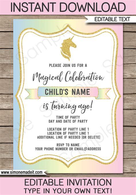 unicorn invitation template free unicorn invitations template unicorn theme birthday invite