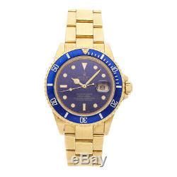 Rolex Submariner 40mm Yellow Gold Blue Dial Oyster ...