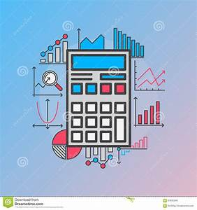 Calculator With Diagrams Stock Vector  Illustration Of