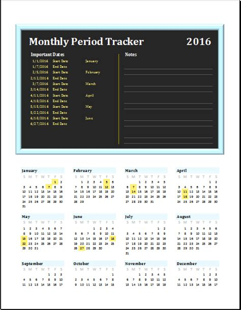 monthly period tracker editable printable ms excel