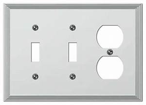 Metro Line Polished Chrome 2 Toggle    1 Duplex Outlet