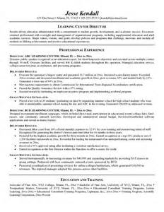 exle learning center director resume free sle