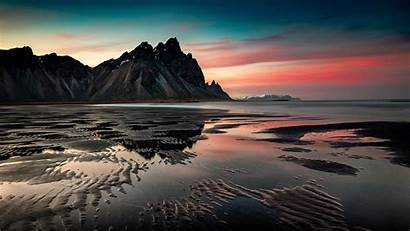 Desktop Sunset Sea Mountains Coast Sand 1440
