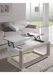 Table Basse Chene Clair : table basse relevable moderne blanc laqu et chene ~ Teatrodelosmanantiales.com Idées de Décoration
