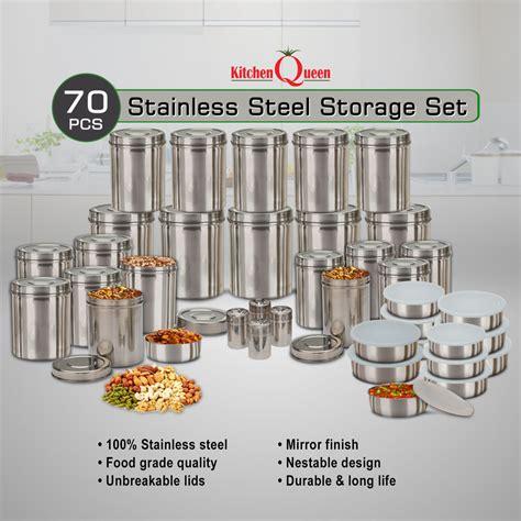 buy kitchen queen  pcs stainless steel storage set