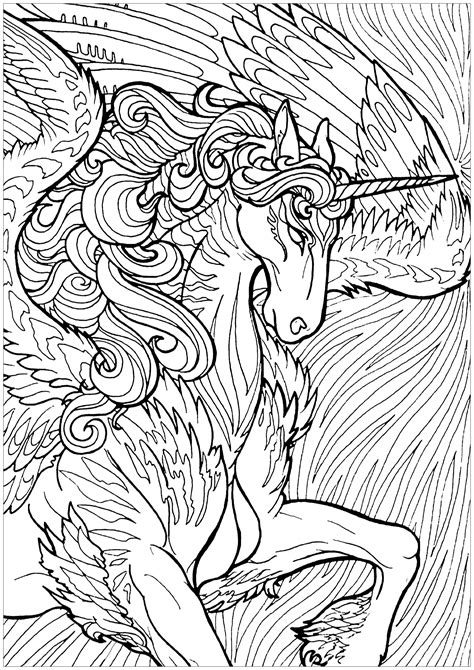 unicorn  wings  background unicorns adult coloring pages