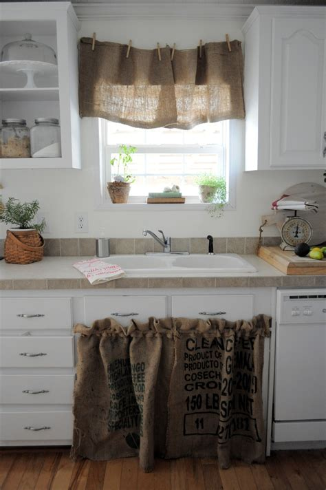 burlap sink skirt and curtain kitchen and dining room