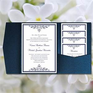 diy pocketfold wedding invitations quotvintagequot navy blue With free printable navy blue wedding invitations