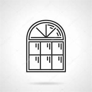 Vintage arched window vector icon — Stock Vector ...