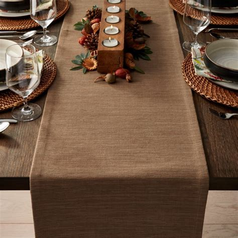"Grasscloth 90"" Brindle Brown Table Runner   Crate and Barrel"