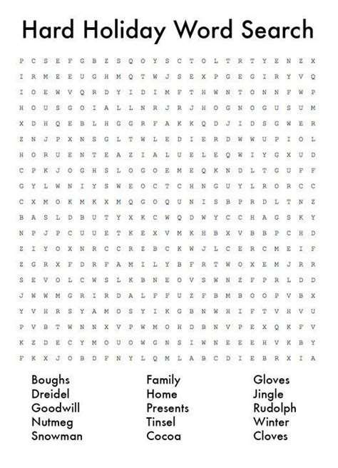 hard holiday word search click on thumbnail to reveal