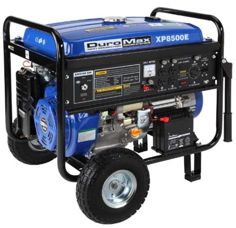 duromax xp8500e ca 8 500 watt hp ohv 4 cycle gas powered portable generator with wheel kit