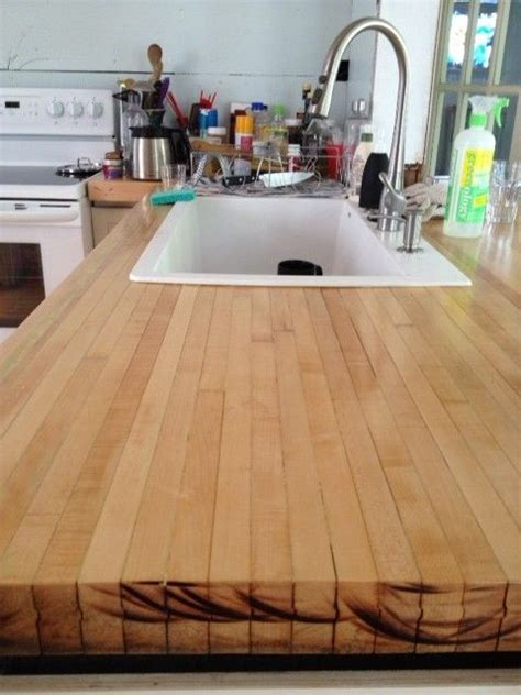 countertop   reclaimed bowling alley lanes