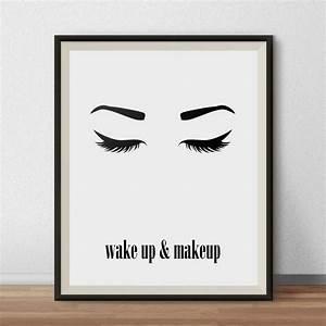 Wake up and Makeup Wall Art, Printable Beauty Poster, Eyes