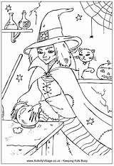 Witch Coloring Colouring Wicked Halloween Printable Bola Cristal Colorir Desenhos Witches Sheets Printables Cat Activityvillage Become Member Log sketch template