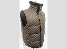 Louis Vuitton Mens Damier Ebene Reversible Rabbit Fur Vest