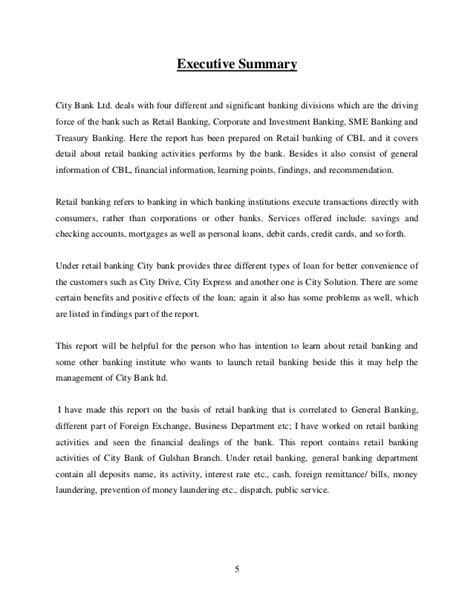 internship report on retail banking activities of city