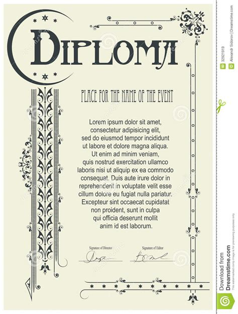 diploma template diploma template royalty free stock images image 32921919