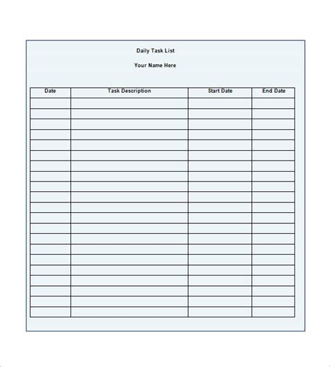 Template For Daily Tasks by Task List Template 10 Free Word Excel Pdf Format