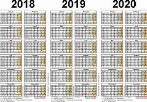 Jahreskalender 2018 2019 : dreijahreskalender 2018 2019 2020 als excel vorlagen ~ Jslefanu.com Haus und Dekorationen