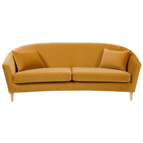 canape en velour canap 233 4 places en velours jaune moutarde romy maisons