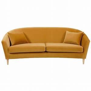 canape 4 places en velours jaune moutarde romy le fait main With nettoyage tapis avec canape jaune velours