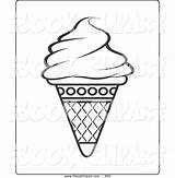 Cone Ice Cream Clipart Icecream Outline Clip Coloring Empty Waffle Clipartmag sketch template