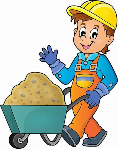 Construction Clipart Worker Cleaning Vector Help Clip