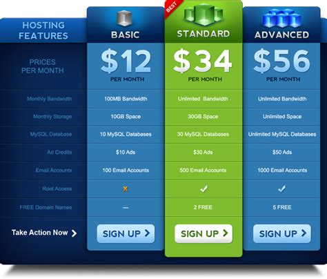 pricing table psd template graphicsfuel